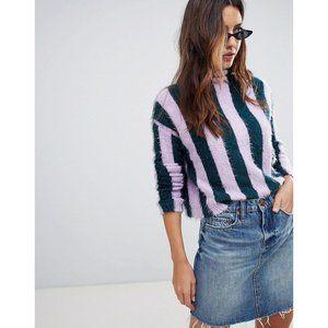 Blank NYC | Blue Lilac Stripe highneck sweate